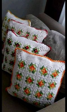 - Her Crochet Crochet Cushion Cover, Crochet Pillow Pattern, Crochet Bedspread, Crochet Cushions, Granny Square Crochet Pattern, Crochet Squares, Crochet Motif, Crochet Doilies, Crochet Patterns