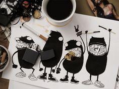 Dribbble - Rock 'n' Roll Monsters by Viktor Dik
