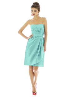 Alfred Sung Style Fabric: Peau De Soie purchase swatch Cocktail length strapless peau de soie dress w/ draped detail at bodice and front skirt. Sizes available: and extra length. Alfred Sung Bridesmaid Dresses, Bridesmaid Dress Styles, Green Bridesmaids, Bridesmaid Color, Bridesmaid Ideas, Wedding Bridesmaids, Bridal Gowns, Wedding Gowns, Bridal Shoes