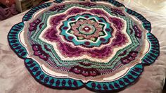 Ravelry: Project Gallery for Mandala Madness pattern by Helen Shrimpton Crochet Square Blanket, Crochet Quilt, Crochet Art, Crochet Squares, Crochet Home, Love Crochet, Crochet Crafts, Granny Squares, Rugs