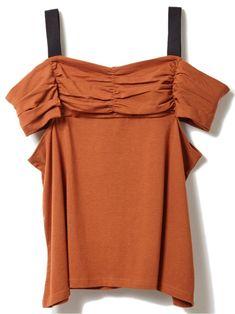 【ドロシーズ/DRWCYS】のギャザーオフショルカットトップス レディースファッション・服の通販 founy(ファニー) ファッション Fashion レディース Women トップス Tops Tshirt オフショルダー トップス Off the Shoulder Top プルオーバー Pullover 関連、ワード Tags オフショルダー カットソー ギャザー ストラップ フレア オフショル ブラウン|ID:329100000037540
