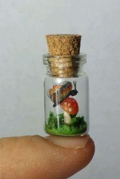 OOAK MINIATURE micro butterfly mushroom bottle POLYMER CLAY HANDMADE dollhouse in Dolls & Bears | eBay