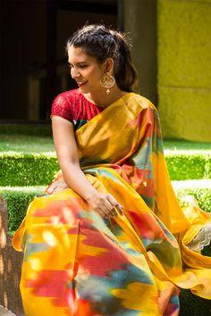 Yellow pochampally pure silk saree with multicolour Ikat design #saree #blouse #houseofblouse #indian #bollywood #style #yellow #pink #blue #zari #border #pochampally #puresilk