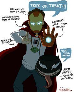 "alyamgoreng: ""When 2 have 2 superhero dads "" - Neu Geek Funny Marvel Memes, Marvel Jokes, Dc Memes, Marvel Dc Comics, Marvel Heroes, Spideypool, Superfamily Avengers, Spiderman, Loki Thor"