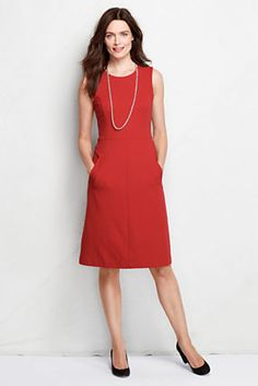 Gorgeous dress, machine washable and has pockets! I have this dress in another color and it looks amazing — the substantial  fabric conceals bumps so no Spanx needed. Wish this pretty cinnabar came in the tall sizes. Women's Sleeveless Ponté Sheath Dress with Pockets from Lands' End - $69