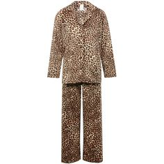 M&Co Leopard Print Fleece Pyjamas (210 DKK) ❤ liked on Polyvore featuring intimates, sleepwear, pajamas, tan, long sleeve pajamas, animal print sleepwear, animal print pajamas, animal print pjs and leopard print pjs