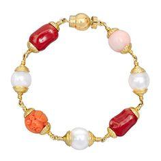 "Seaman Schepps ""Baroque"" Coral & Pearl Bead Bracelet"