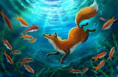 Diving Foxes by LouieLorry on DeviantArt Fox Fantasy, Fantasy Art, Cute Animal Drawings, Cute Drawings, Fox Drawing, Fox Pictures, Wildlife Paintings, Creatures Of The Night, Fox Art