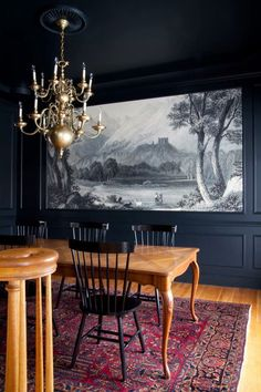 Rooms That Make Black Walls Work Apartment Therapy Interior - Black dining room chandelier