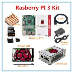 Raspberry Pi 3 Model B + 3.5 Inch LCD Touch Screen+ Raspberry Pi 3 Case+HDMI Cable+2.5A Power Supply+8GB SD Card for pi 3 Projetos Raspberry Pi, Rasberry Pi, Cable, Starter Kit, Sd Card, Cool Things To Buy, Board, Layers, Fonts