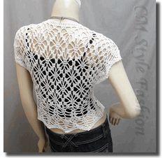 Crochet Eyelet Shrug Bolero Cardigan Topper White