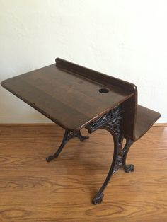 Reserved - Antique Children's School Desk With Wooden Top Cast Iron Base