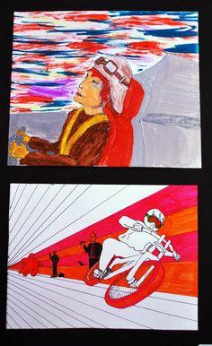 Plumones sobre papel por José Izquierdo.  Ilustración / Clase de Arte