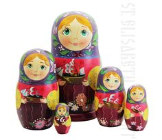 Boats Nesting Doll Set of 5  A set of 5 nesting dolls. Each wooden doll looks as if it holds a toy boat in her arms. The dolls are made of solid lime wood and painted by hand in a workshop of St Elisabeth Convent.  Order here: https://catalog.obitel-minsk.com/nesting-doll-5-pcs-rd104316.html  #nestingdoll #handmade #gift #handmadegift #Easter #Pascha #CatalogOfGoodDeeds