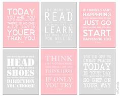 I love these Dr Seuss sayings to help decorate her nursery!!