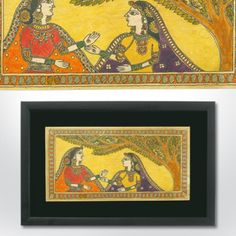 Madhubani painting featuring two friends under a tree