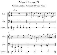 March forms 09 ingyenes letölthető PDF zongorakotta és a kottából készült hangfelvétel a Különleges zongoraoktatás módszertanával. Piano Teaching, Sheet Music, Christian, Christians, Music Sheets