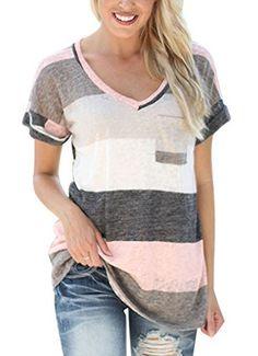 CRAVOG Damen Gestreift T-Shirt V-Ausschnitt Bluse Tunika Sommer Top Oberteile, http://www.amazon.de/dp/B01IJH9344/ref=cm_sw_r_pi_awdl_x_p.6ayb99QEHHZ