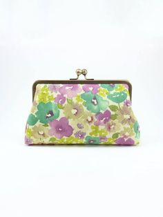 SALE | Floral Clutch | Bridesmaids Clutch | Green and Purple Clutch | Wedding Clutch [Violet Wildflower Clutch]