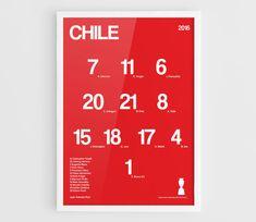 Poster de Chile Copa América 2016 Centenario fútbol equipo squad - A3 pared arte tipografía imprimir póster, póster minimalista, fútbol Poster