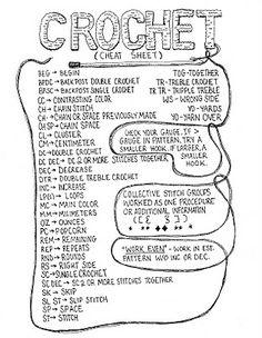 Crochet Cheat Sheet ❥Teresa Restegui http://www.pinterest.com/teretegui/❥