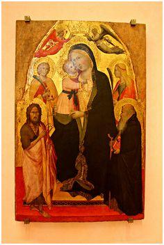 Agnolo Gaddi - Madonna col Bambino tra i santi Giovanni Battista, Caterina d'Alessandria, Antonio abate, Maria Maddalena e due angeli - 1380-1385 - Museo Bandini, Fiesole