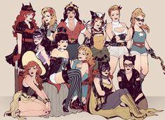 DC Bombshells http://ericamchan.tumblr.com (Batwoman, Black Canary, Wonder Woman, Hawkgirl, Power Girl, Stargirl, Huntress, Zatanna, Supergirl, Mera, Batgirl and Catwoman)
