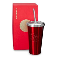 An insulated, stainless steel Cold Cup tumbler with stainless steel straw and red finish. Part of our Dot Collection.