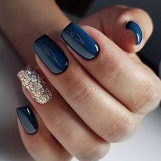new years nails dip powder & new years nails . new years nails acrylic . new years nails gel . new years nails glitter . new years nails dip powder . new years nails design . new years nails short . new years nails coffin Navy Blue Nails, Gold Nails, Fun Nails, Blue Gold, Dark Blue, Blue And Silver Nails, Blue Gel Nails, Navy Blue Nail Polish, Purple Nails