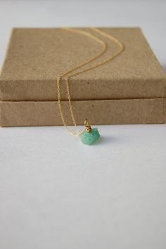 Genuine Rough Emerald Necklace by carolinabenoit on Etsy, $50.00