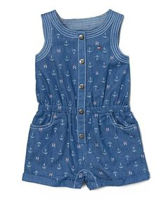 Get her dressed up for a day of fun and comfortable play in this convenient romper.