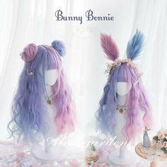 Lovely Lolita Harajuku Kawaii Doll Daily Candy Gradient Hair Curly Wig 2 buns and Headband Kawaii Hairstyles, Permed Hairstyles, Pretty Hairstyles, Pelo Lolita, Lolita Hair, Kawaii Wigs, Kawaii Doll, Real Wigs, Purple Wig