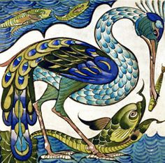 Heron and Dolphin by William de Morgan 12 x 12 by Venneart on Etsy, $29.95