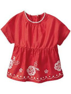 Embroidered-Boho Tops for Baby 0-3