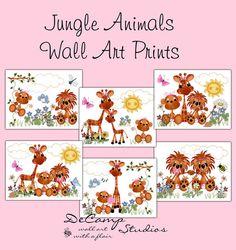 Jungle Animals 8x10 Wall Art Prints Decor for baby girl zoo nursery or children's safari room decor #decampstudios
