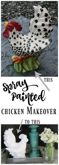 How to spray paint a chicken for an amazing makeover! SO dang cute! Turn an outdated, chipped chicken into a statement piece for your kitchen with just a few minutes and a can of glossy white spray paint! Seashell Painting, Spray Painting, Painting Tips, Spray Paint Projects, Ceramic Chicken, Ceramic Rooster, Best Chicken Coop, White Spray Paint, Spray Paint Ceramic