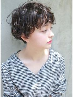 Pin on ショートヘア Short Dark Hair, Short Curly Hair, Girl Short Hair, Short Hair Cuts, Curly Hair Styles, Haircuts For Wavy Hair, Permed Hairstyles, Short Hairstyles For Women, Haircut For Big Forehead