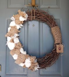 Burlap Grapevine Wreath - Burlap Roses, Pearls, and Ivory Lace.