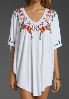 #mexican #folkart Tunic MARA HOFFMAN Embroidered Short Poncho in White at Revolve Clothing - Free Shipping!