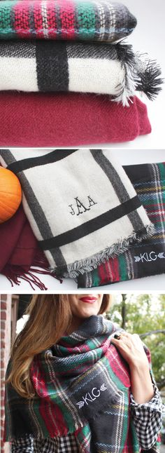 Just a few of our monogrammed blanket scarves for Fall