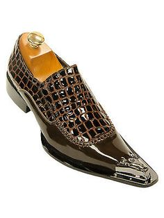 Zota Mens Brown Patent Alligator Pattern Leather Pointed Metal Toe Slip On Shoe