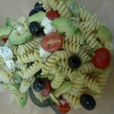 Cold Salad! Avocado, Lemon Juice, Mayonise, Pasta, Black Olives, Cherry Tomatoes, Feta Cheese, Italian Herbs and Black Ground Pepper