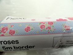 NEXT  5M  ROSES PINK BLUE POLKADOT  WALLPAPER BORDER SELF ADHESIVE GIRLS BEDROOM
