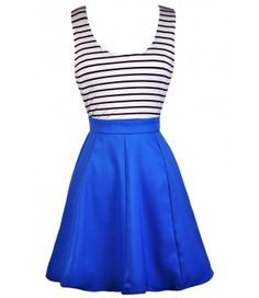 Cute Blue Dress, Blue Black and White Stripe Dress, Bright Blue Nautical Stripe Dress, Blue Stripe Open Back Dress, Blue Black and White Stripe Party Dress, Cute Summer Dress, Bright Blue Party Dress, Bright Blue Summer Dress, Bright Blue Sundress