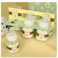 Great baby shower game!! Fill baby bottles with a drink and race to see who finish first.