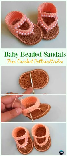 Crochet Beaded Baby Sandals Free Pattern & Video - #Crochet; Baby #Sandals; Free Patterns