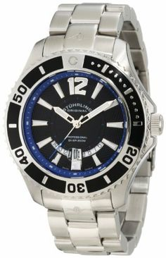 Stuhrling Original Men's 161B4.331151 Nautical Regatta Diver Swiss Quartz Date Stainless Steel Bracelet Watch Stuhrling Original. $129.99. Water-resistant to 200 M (660 feet). Two tone polished and beveled stainless steel link bracelet. Polished stainless steel case with black unidirectional ratcheting bezel with arabic numerals. Protective krysterna crystal on front with date magnification at 6 o'clock position. Black hydraulically stamped starburst design on dial with blue oute...