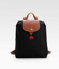 Longchamp Black Personalized Le Pliage Backpack