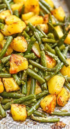 Vegan Side Dishes, Dinner Side Dishes, Potato Side Dishes, Thanksgiving Side Dishes, Veggie Dishes, Side Dish Recipes, Thanksgiving Green Beans, Oven Dishes Recipes, Potato Sides