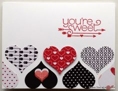 A Quick and Easy Valentines card to make using the Sweetheart Punch and Stacked with Love DSP.